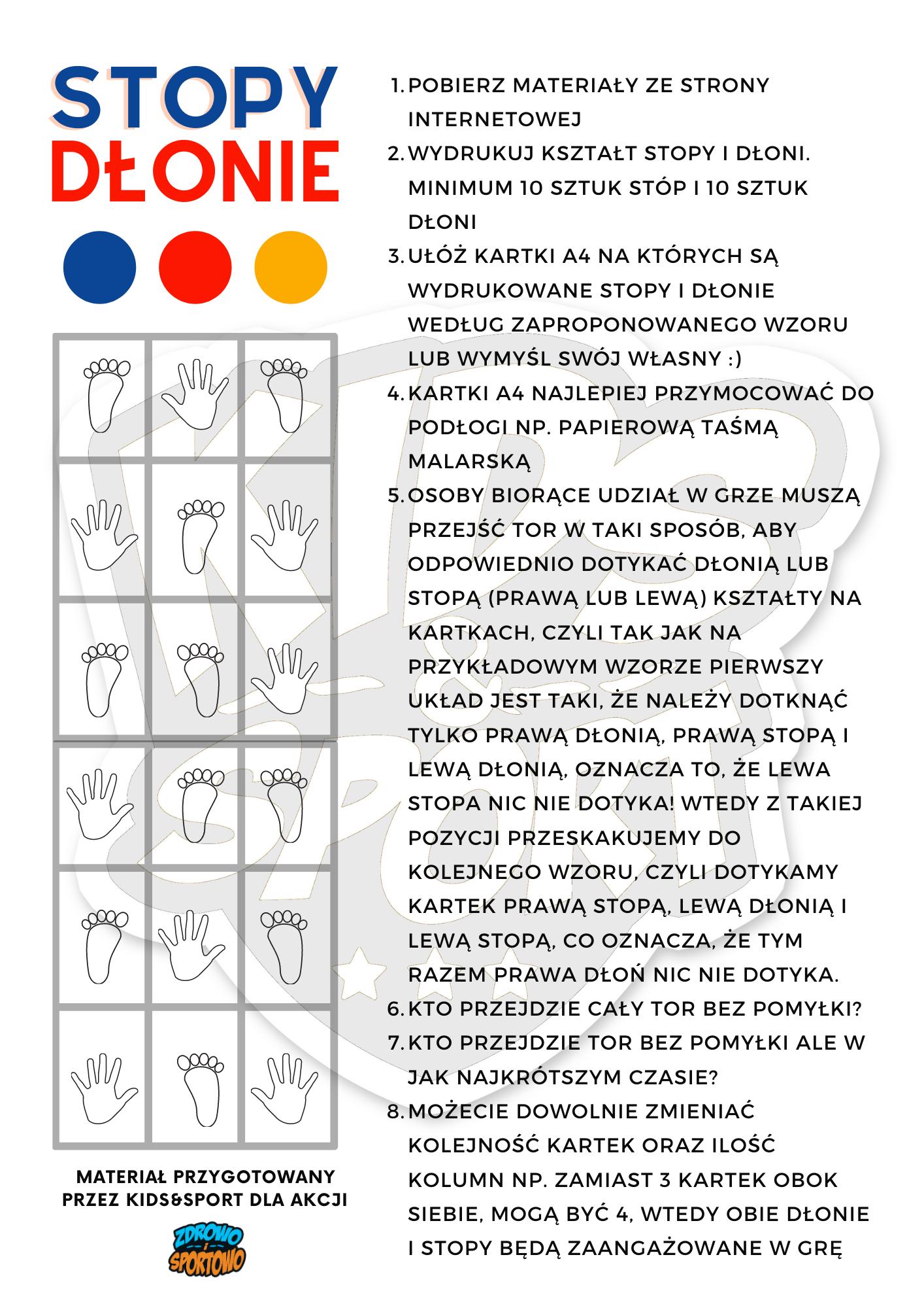 Gra Stopy-Dłonie - Akcja Zdrowo i Sportowo